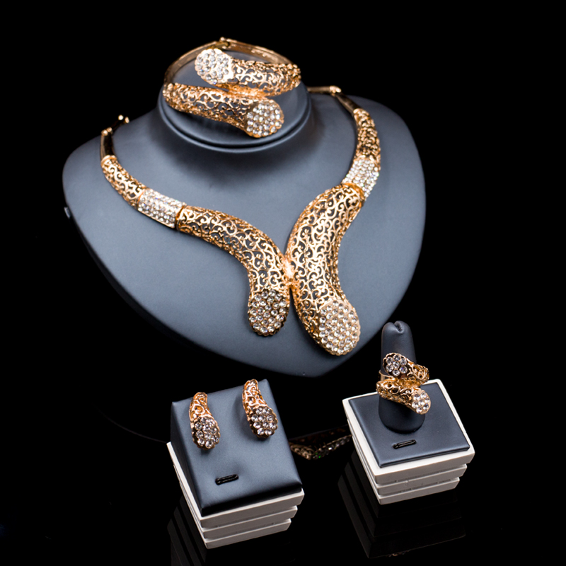 lan palace jewelry sets parure bijoux femme gold color Austrian crystal set earrings necklace ring bracelet free shipping