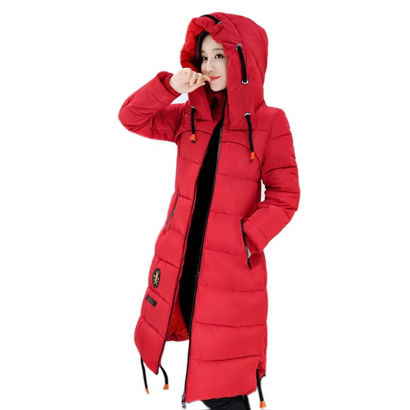 ФОТО 2016 New Style Winter Women Jacket Long Warm Thicken Cotton-padded Coat Casual Outwear Female Hooded Parkas Overcoat ZJ890