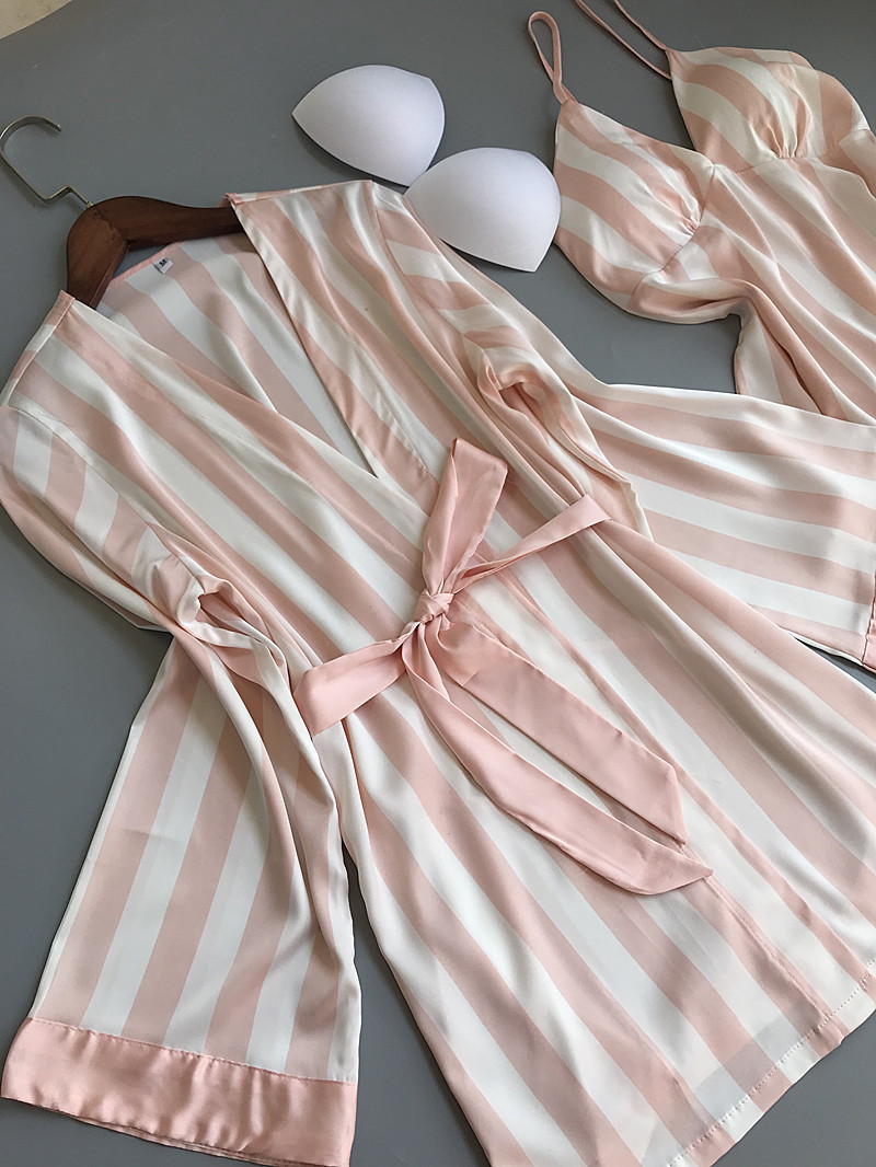 Lisacmvpnel 3 Pcs Striped Sexy Women Pajama Sets Nightdress+Robe+Pant Female Pajamas 64