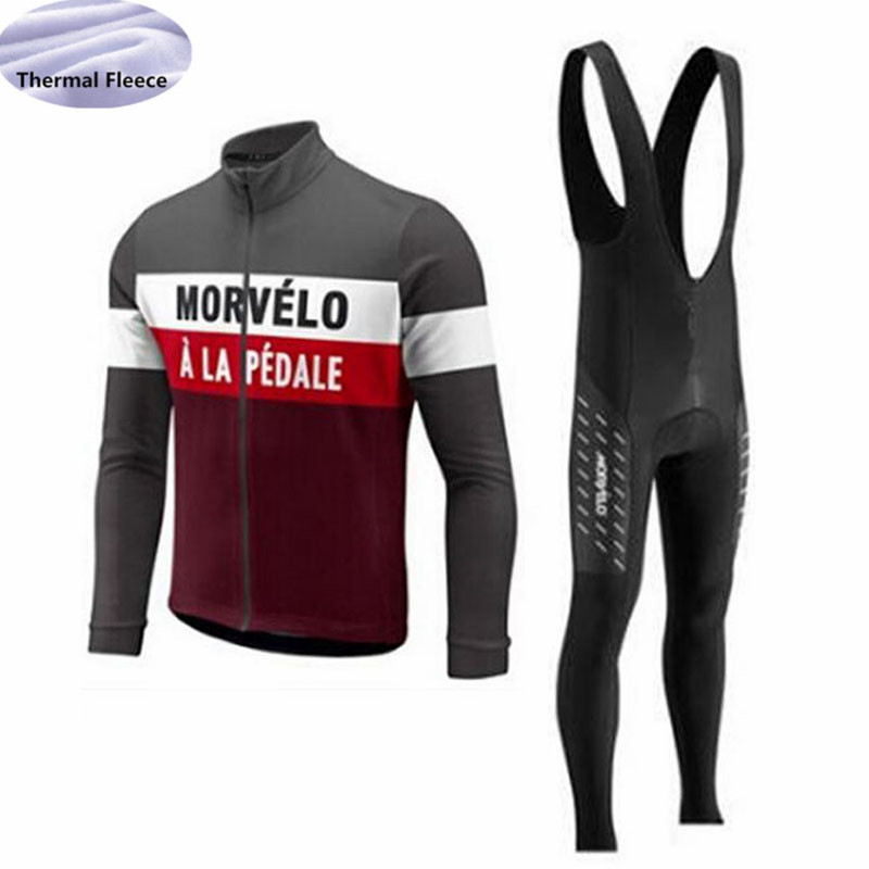 Image 3 - Winter Fleece Thermal Men Cycling Jersey set Morvelo team Long Sleeves Cycling clothing Wear bib pants Maillot Ropa Ciclismo-in Cycling Sets from Sports & Entertainment