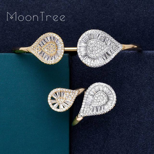 MoonTree Luxury Water Drop Shing AAA Micro AAA Cubic Zirconia 2 Tone Wedding Bracelet For Women Bangle Ring Fashion Jewelry Set
