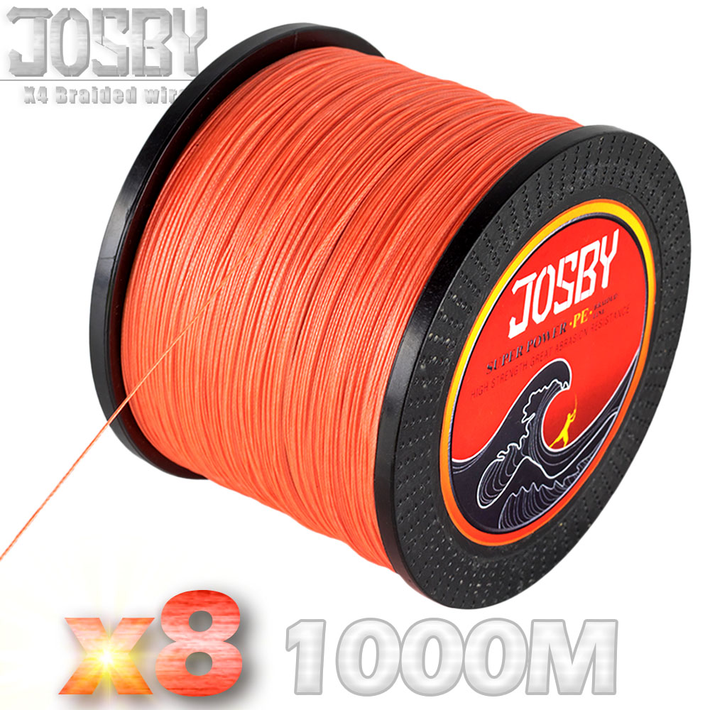 цена на JOSBY Brand 1000m 8 Strands Multicolour PE Braided Wire Multifilament Fishing Line Fishing Tackle 15LBS-80LBS 7Color