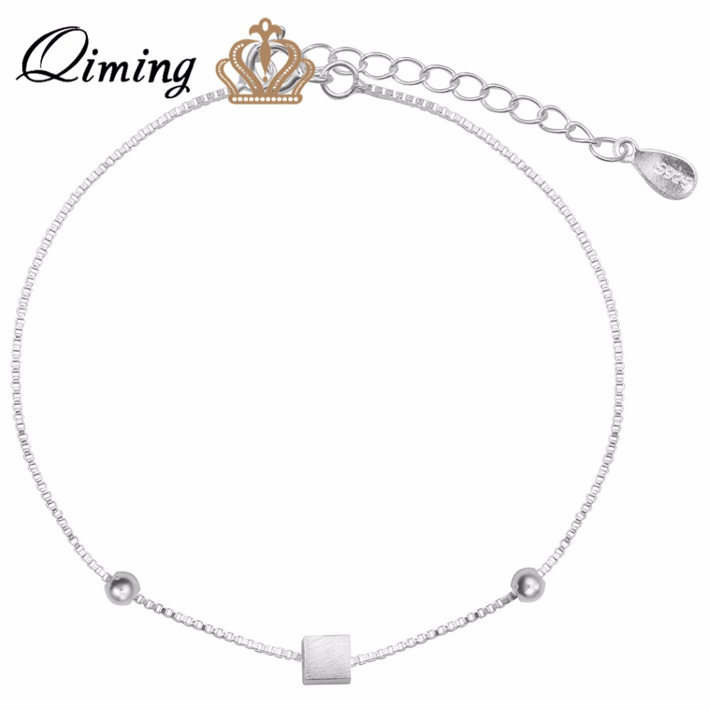 qiming love elegant cube silver bracelet anklet foot chain wholesale wedding jewelry bracelet