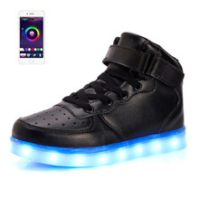2017 New APP Control Men Fashion Luminous Shoes High Top LED Lights USB Charging Colorful Shoes Unisex Lovers Casual Flash Shoes