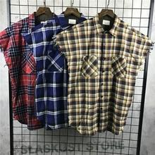 Qualität Sleeveless Gebürstet Flanellhemd Reißverschluss Seitenschlitzen Zerrissene Armausschnitt Plaid Tops Kostenloser Versand