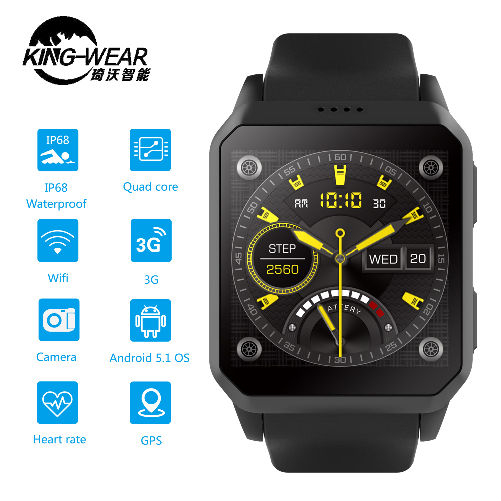 Kingwear KW06 GPS Smart Watch Phone Android 5 1 MTK6580 Heart Rate Monitor Bluetooth 8GB Smartwatch