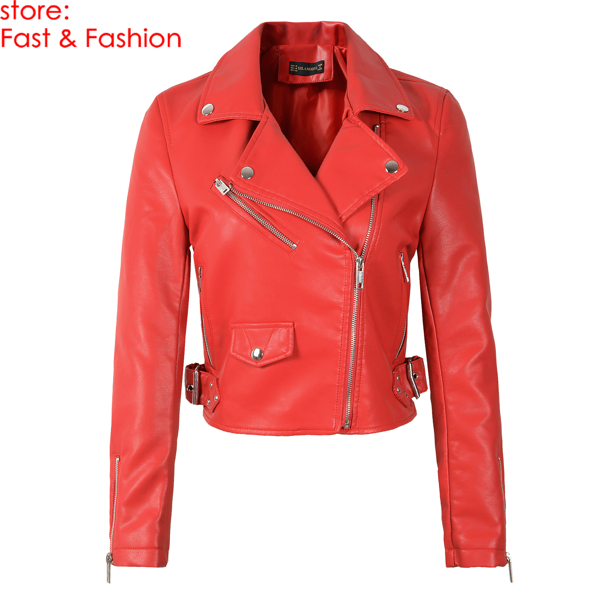 2019 New Fashion Women Autumn Winter Rivet Faux Soft   Leather   Jackets Lady PU Red Black Pink Zippers Coats Motorcycle Outerwear