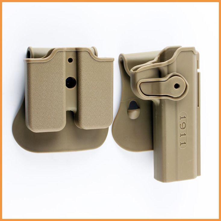 Airsoft Tactical 1911 Magazine Gun Holster Polymer Retention Roto Holster and Double Magazine Fits For IMI M1911 Style image