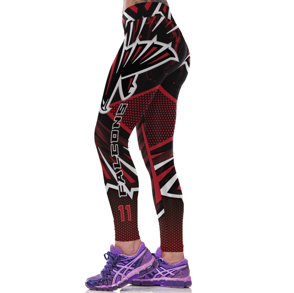 Women NFL Atlanta Falcons Fitness Leggings Fiber Elastic Hiphop Party  Cheerleader Rooter Workout Pants Team Logo Trousers-in Leggings from  Women s Clothing ... 837049414