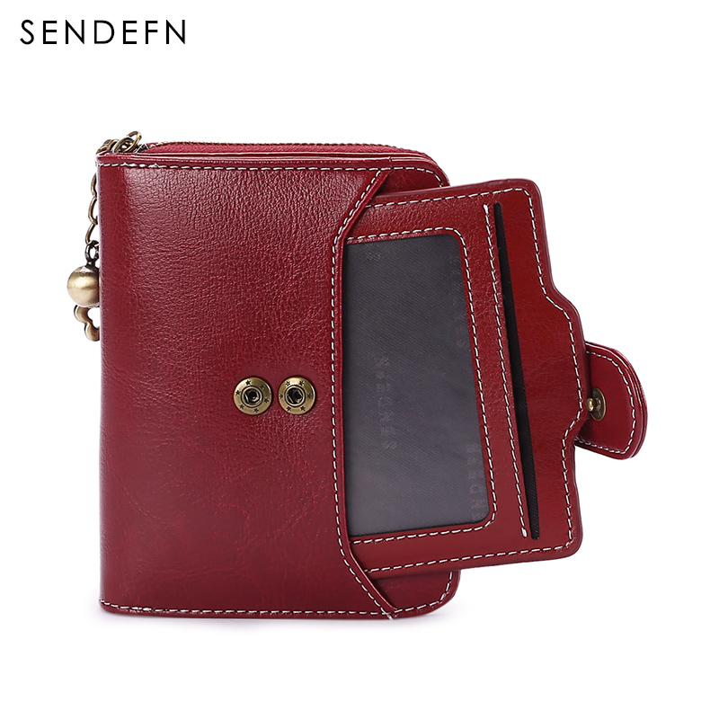 Split Leather Short Wallet Women Small Purse Lady Wallets SENDEFN 2018 New Quality Retro Female Coin Purses Card Holder in Wallets from Luggage Bags