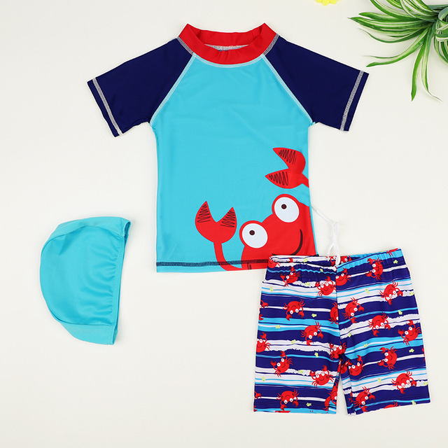 9a9ac431e4 Children's Swimsuits Baby Boys Crab Swimwear UV Prodection Short Sleeve 2 Two  Pieces Shirt+shorts Three Sets Boys Bathing Suit