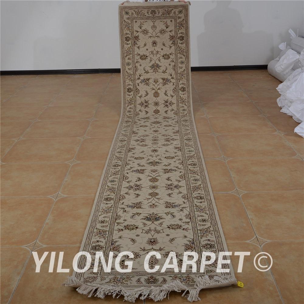 Yilong 2.5 'x14' tapis de laine persane coureur beige exquis laine soie turc épais tapis de laine coureur (1515)