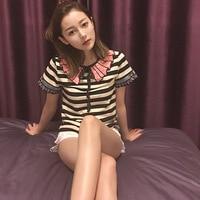 2018 Ladies Blouses Summer Ruffles Cotton Striped Shirt Women Casual Cotton Short Sleeve Ruffled Shirt Top Women Black Butterfly