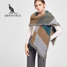 San Витале женские шарфы платки зима теплый шарф Элитный бренд модные мягкие обертывания кашемировый шарф в клетку бандана для подарков