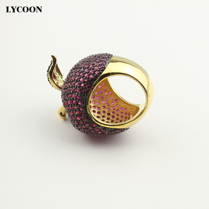 Image 3 - LYCOON elegant crystal apple rings food style yellow gold color luxury prong setting rose red/green Cubic Zirconia for women