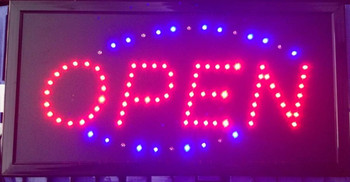 2017 Top Fasion low power programmable led signs Semi-outdoor Ultra Bright  open sign 10x19 Inch