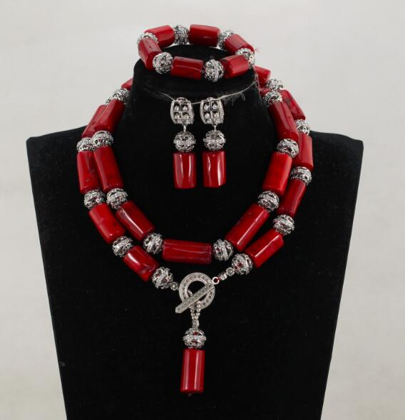 Charming Column Red Coral Necklace Set African Beads Coral Jewelry Set Silver Alloy Party Jewelry Beads Free Shipping CNR042 allure charming party magic set