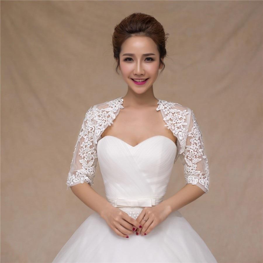 2016 White / Ivory Short Sleeve Lace Bridal Bolero Jackets