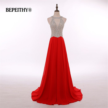 Fashionable Red Chiffon Long Evening Dress Party Elegant Crystal Top Robe De Soiree Sexy Prom Gowns Vestido De Festa Hot Sale