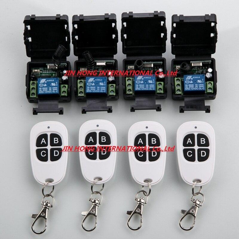 Sistema 12 V 1ch interruptor de control remoto inalámbrico 4 transmisor y 4 rece