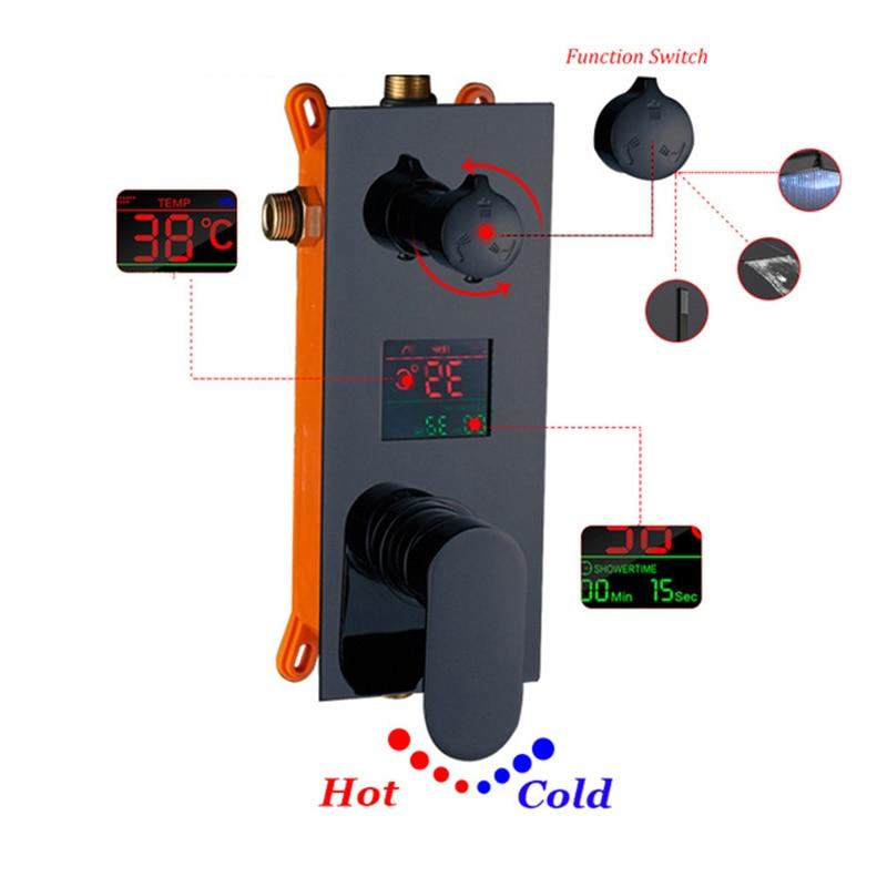 Dfrkjhre Badkamer LED Douche Kraan 4 Kleuren LED Digitale Mengkraan Warm en Koud Water Mengkraan Badkamer Accessoires