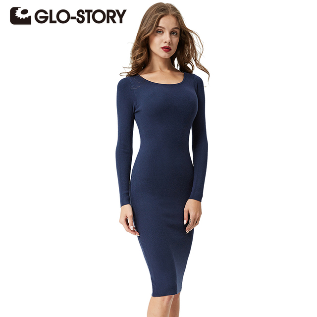 GLO-STORY Womens Sweater Dress 2017 Long Sleeves Fashion Elegant Knit Dresses Sexy Slim Party Bodycon Knee Sweaters Dress 2617