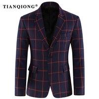 TIAN QIONG Mens için Bordo Blazer 2018 Bahar Ekose Blazer Erkekler Slim Fit Casual Blazers Ceket Lüks Iş Abiyeler