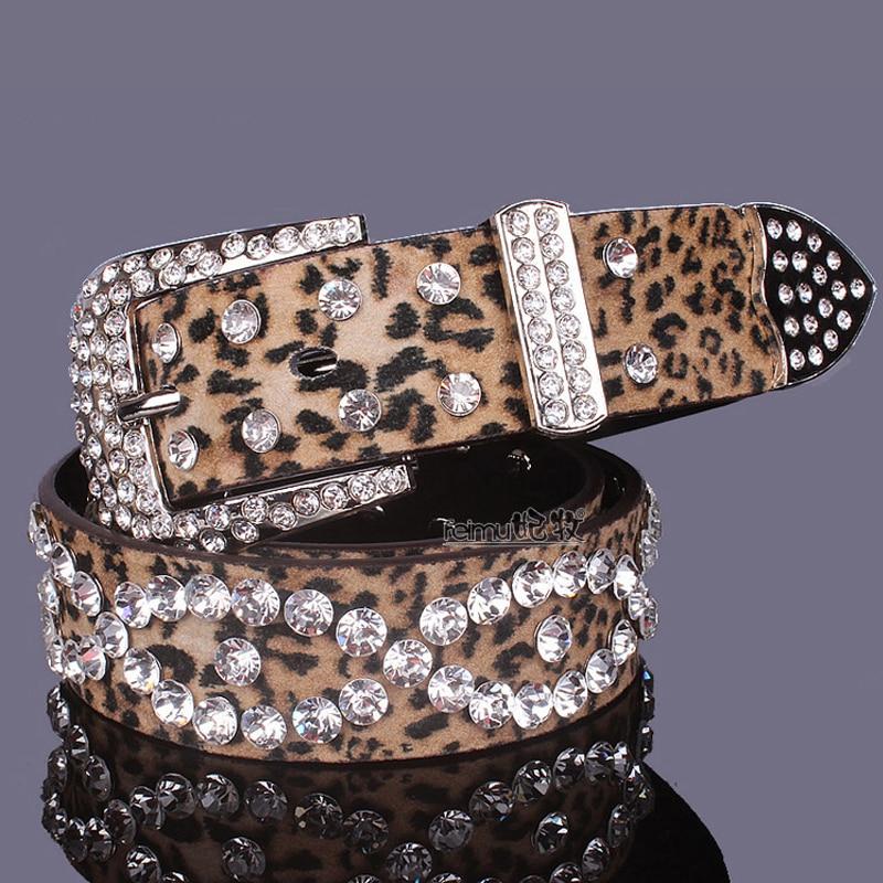 Nouveau design de mode ceinture en cuir pour femmes strass boucle ceintures femmes jean sangle léopard couleur