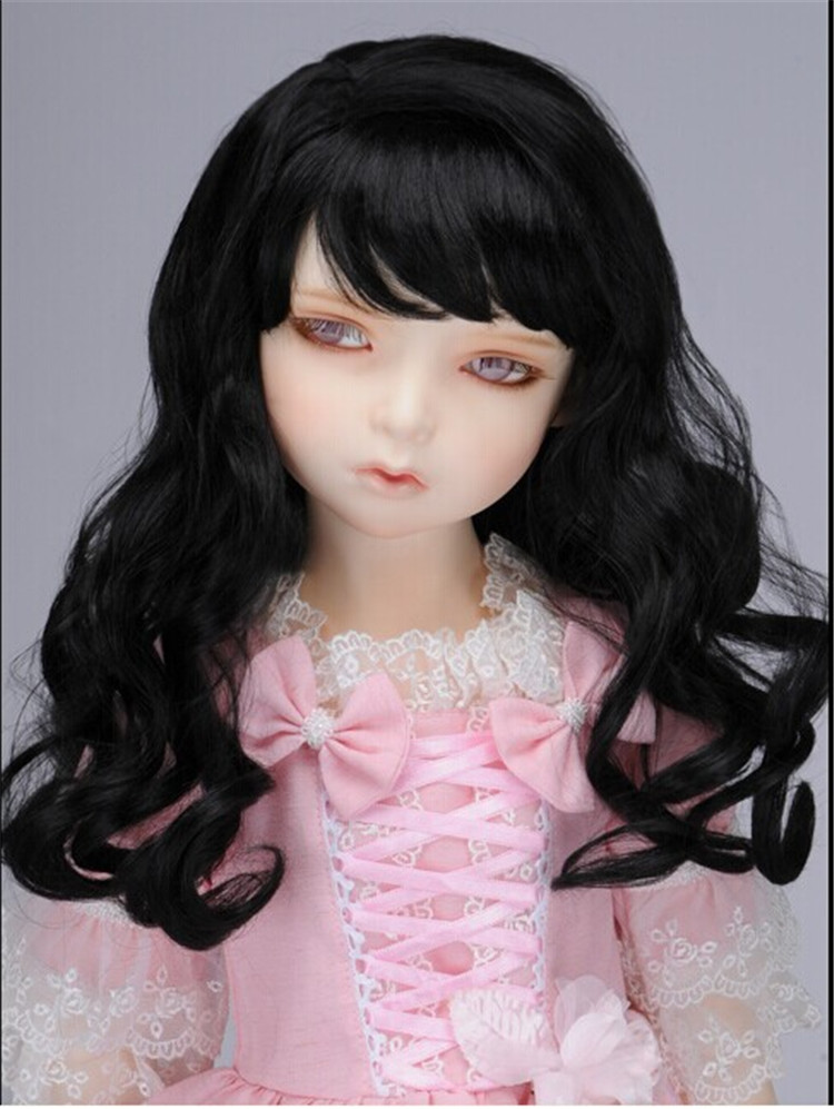MSD synthetic mohair doll wig 1/4  Eraser Long curly wig  for BJD dolls   Jerryberry dol hair 7-8'' Resin doll wigs d20313 1 4 msd mohair doll wigs princess long curly bjd wig 7 8inch doll accessories