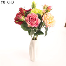 YO CHO Rose Peony Anniversary Gift Artificial Flower Pink Wedding Home Decoration Birthday Party Decor Real Touch