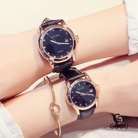 Pretty Original GUOU Rose Gold Case Bling Crystal High Quality Leather Quartz Wristwatches Wrist Watch For