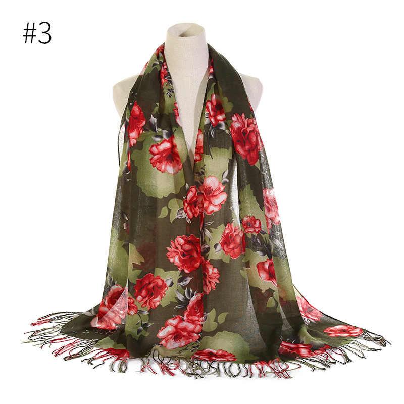 Double - head พู่ foulard ผ้าคลุมไหล่ฮิญาบมุสลิม Headscarf ดอกไม้พิมพ์อิสลามห่อหญิงมาเลเซีย Hijabs Headband
