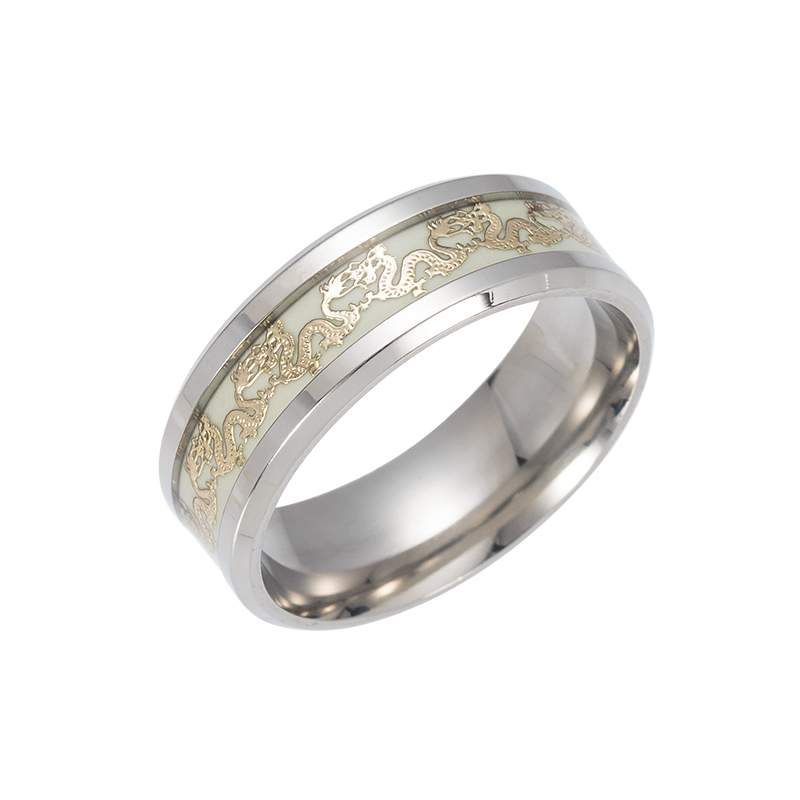 Vonru Chinese Tradition Dragon Ring Gold Stainless Steel Rings For