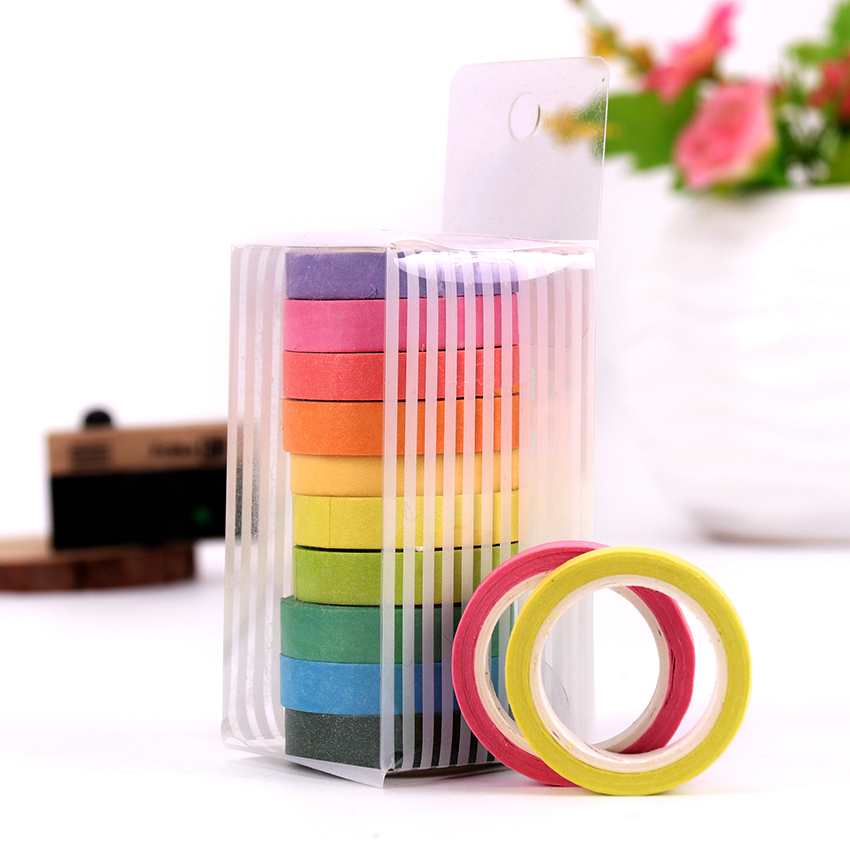 Rainbow Roll DIY Washi Sticky Paper Tape Masking Tape Self Adhesive Tape Scrapbooking Decorative Scrapbook Tape Gift 10 PCS/lot