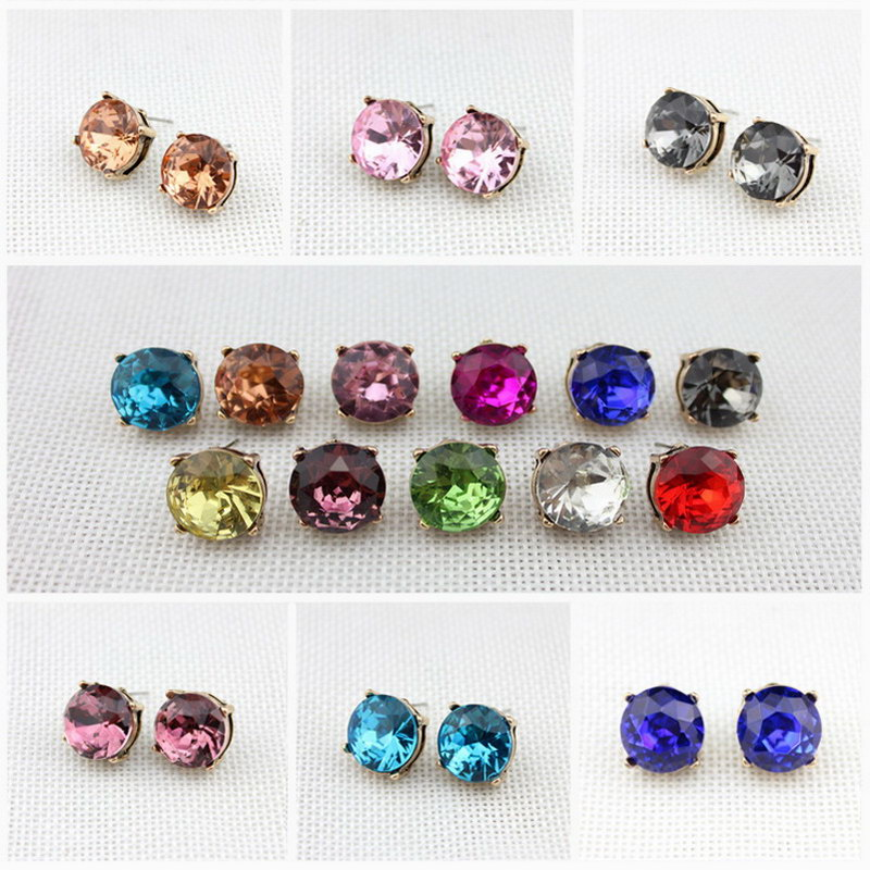 ZWPON Emas Basis Kristal Putaran Stud Earrings untuk Wanita Fashion Jewelry Faceted Tombol Anting Musim Panas 2018 15 * 15 MM
