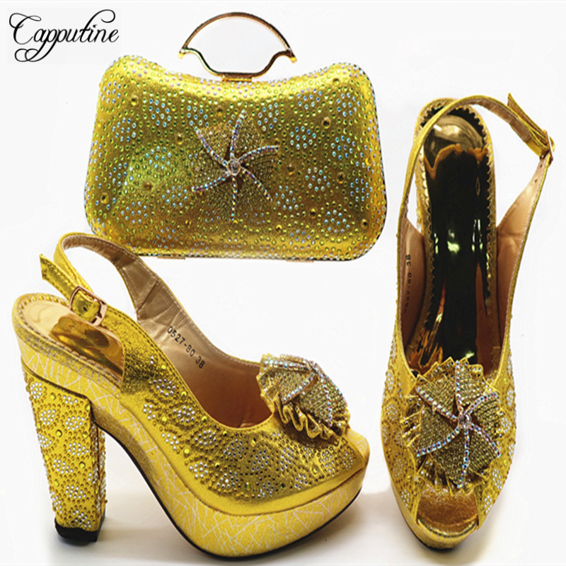 High Quality Wonderful Woman Shoes And Bag Set 2019 African Rhinestone Pumps Yellow Shoes And Matching