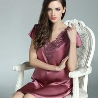 S55115 Whoelsale Spring&Summer Fashion lady Silk Sleepwear 100%silk nightgown Short Sleeved Silk Dress