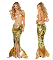 FREE SHIPPING The Golden Mermaid Fun Game Uniform Set Halloween Costumes Cosplay Costumes