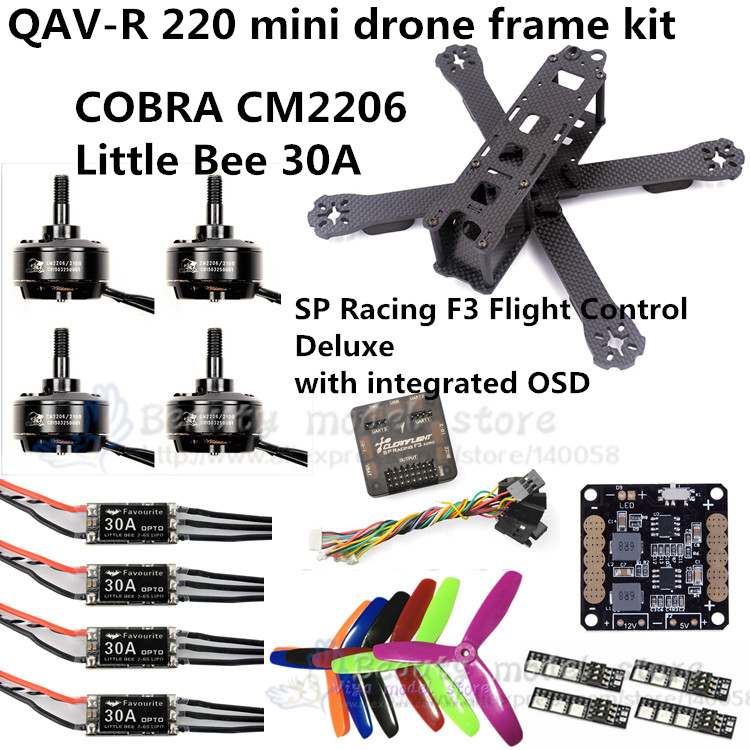 QAV-R 220 frame quadcopter pure carbon frame 4*2*2mm + COBRA CM2206 + Little Bee 30A ESC + SP Racing F3 for DIY FPV mini drone new qav r 220 frame quadcopter pure carbon frame 4 2 2mm d2204 2300kv cc3d naze32 rev6 emax bl12a esc for diy fpv mini drone