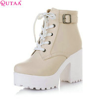 QUTAA 2017 New Women Rain Boots Fashion Winter Snow Platform Women S Ankle Boots Motorcycle For