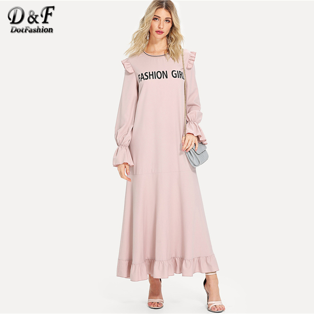 64959bb26 Dotfashion Letter Print Ruffle Embellished Dress Women Pink Long Sleeve  Maxi Dress Fall Casual Drop Waist Dress