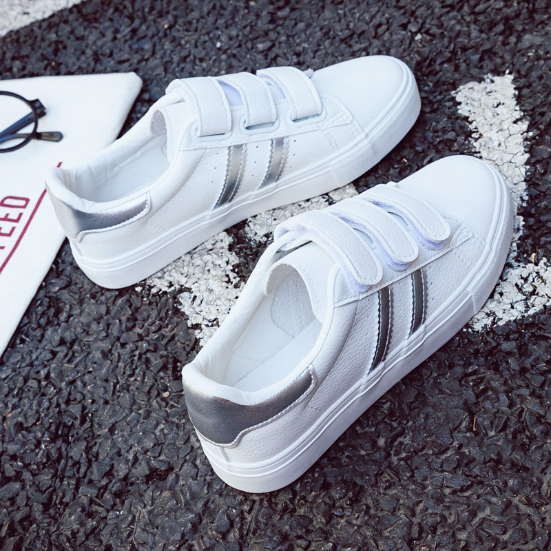 Shoes Woman New Fashion Women Shoes Casual High Platform Striped PU Leather Casual Simple Women Casual White Shoes Sneakers