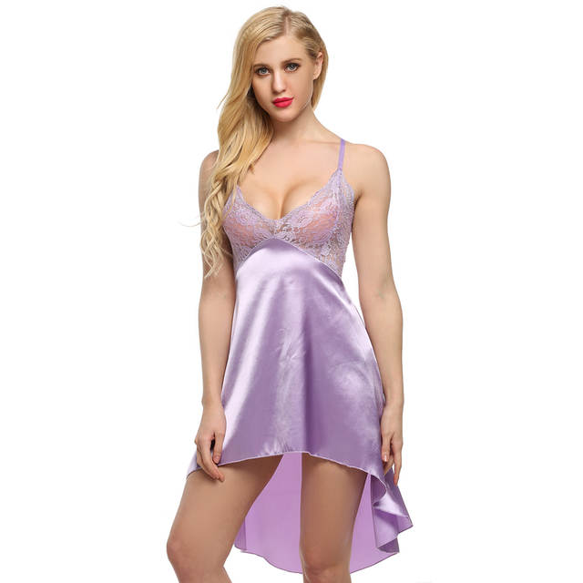 17681e9478 placeholder Ekouaer Ladies Sexy Satin Night Dress Lace Women Sleepwear  Sleeveless Nighties V-Neck Nightdress Sexy
