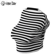 Striped Baby Car Seat Cover Nursing for Newborn Feeding Cotton Canopy Soft Breastfeeding Shawl 7479