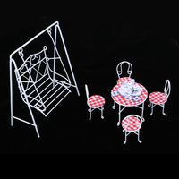 European 1/12 Dollhouse Miniature Fairy Garden Decor Metal Swing & Table Chair & Porcelain Tea Set Accessory