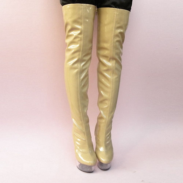 Ultra 15cm Sexy Over-The-Knee Boots Soft PU Leather Thigh High Boots Sexy Long Dance Shoes