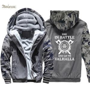 Image 2 - Odin vikings hoodie homem morrer em batalha e ir para valhalla com capuz moletom casaco inverno quente velo grosso filho de odin jaqueta dos homens