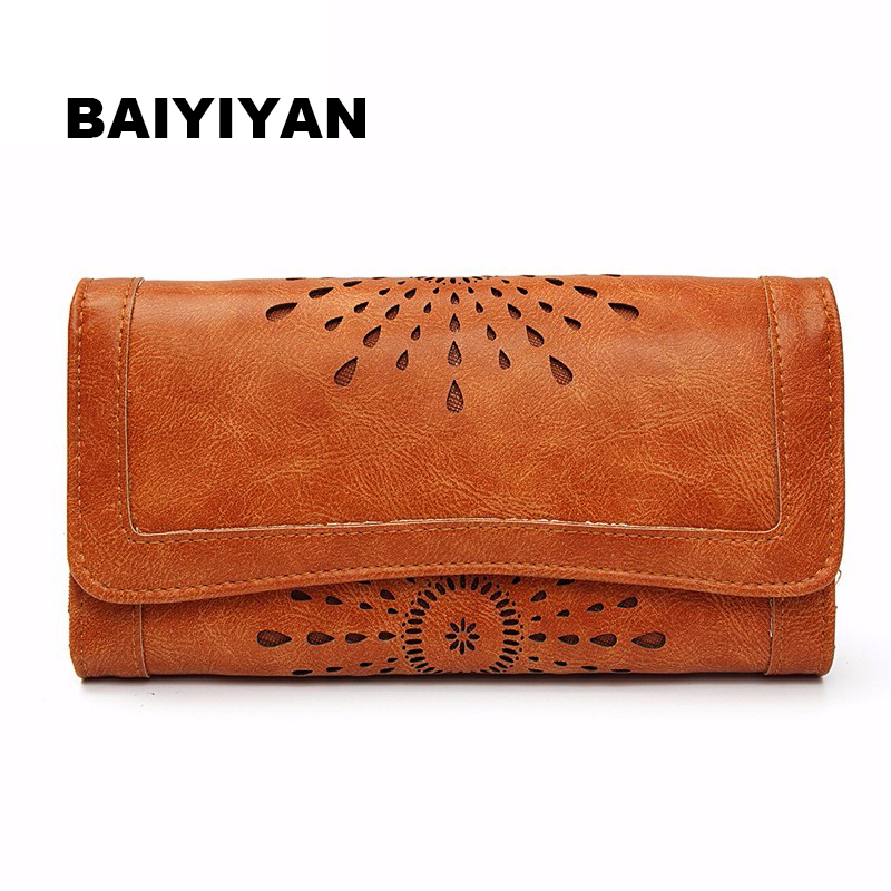 Hollow Out Pattern Retro Wallet Female Purse PU Leather Bag Women wallets and purses Vintage Long Wallets