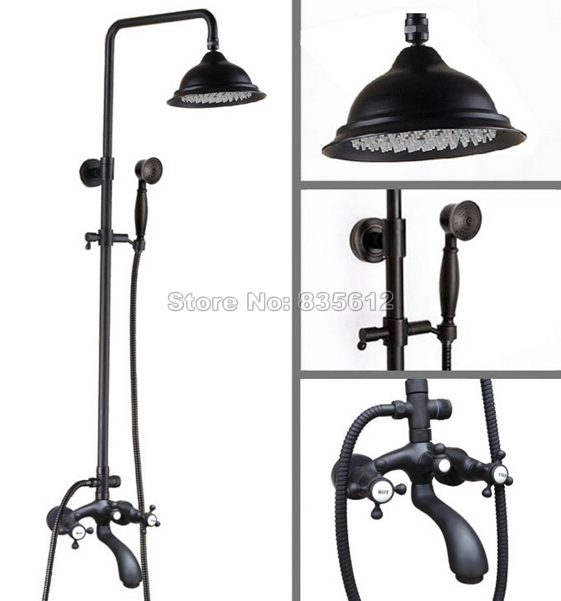 Wall Mounted Bathroom Black Oil Rubbed Bronze Rain Shower Faucet Set with Hold Shower+8.2 Shower Head Bath Tub Mixer Tap Whg113