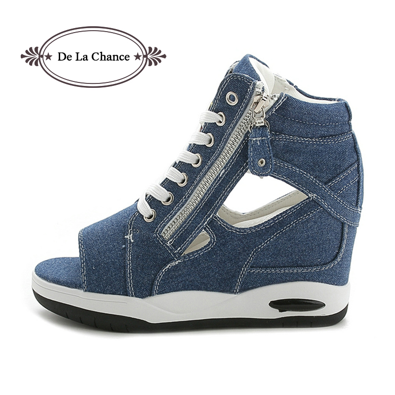 ФОТО Fashion Women Sandals Denim Casual Shoes Women's Leisure Platform Sandals Cutout Wedge Thick Heels Summer Rome Sandals Blue
